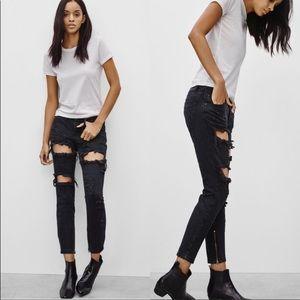 One Teaspoon Trashed Freebirds Vintage Black Jean
